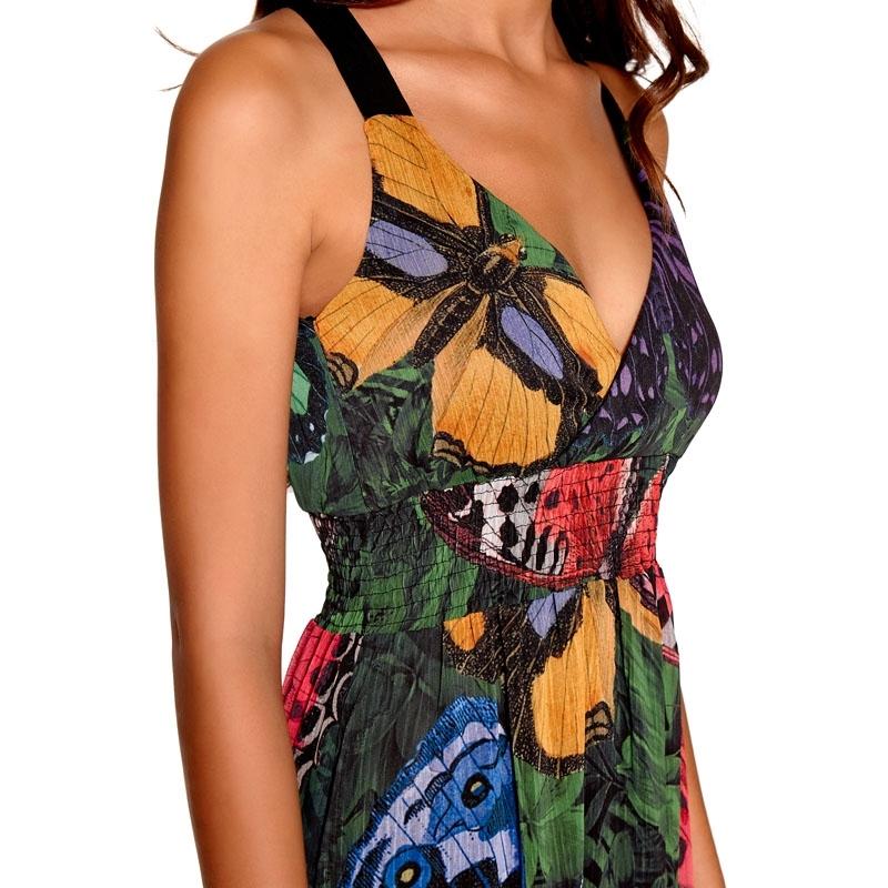 DESIGUAL / Шифоновый сарафан в пол с дизайнерским принтом в стиле бохо