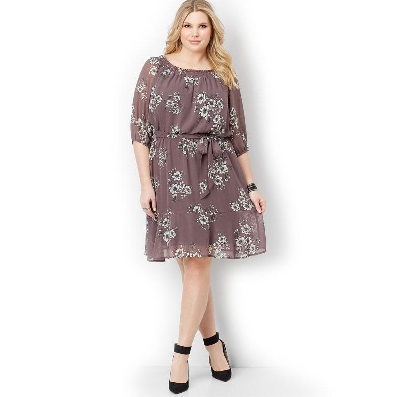 MAURICES / Шифоновое платье миди с цветочным принтом