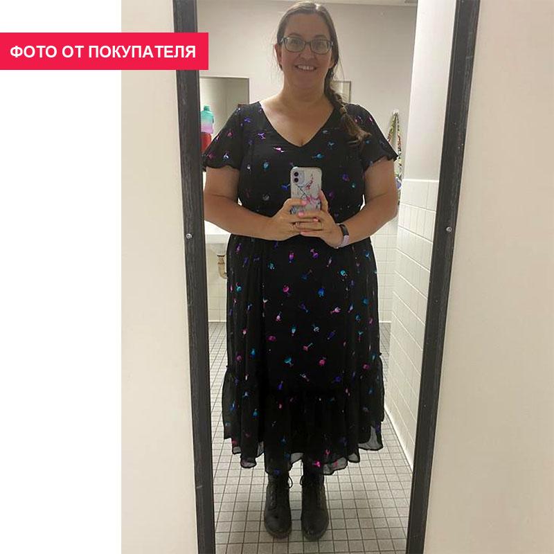TORRID / Шифоновое платье с голографическим коктейльным принтом