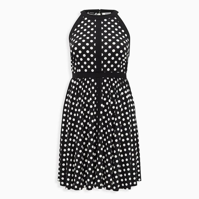 TORRID / Платье миди из черного трикотажа в белый горошек