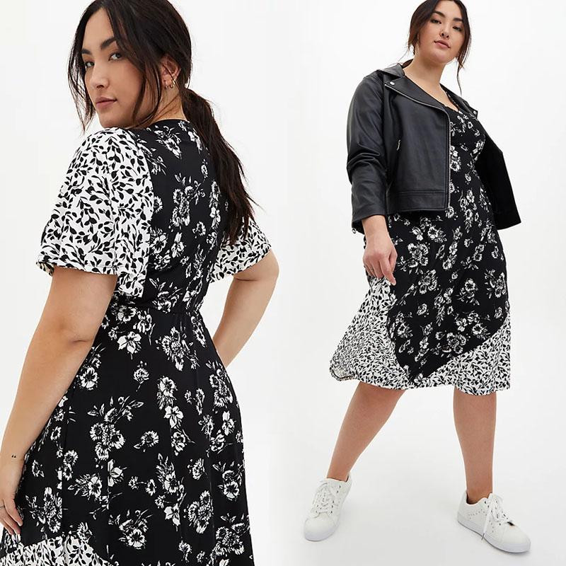TORRID / Комбинированное платье миди с черно белым принтом в стиле бохо