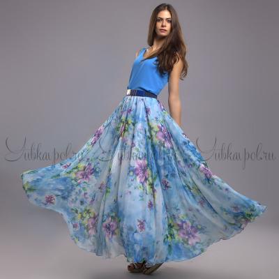 YUBKAVPOL / Голубая юбка в пол с цветочным принтом
