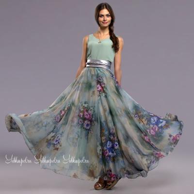 YUBKAVPOL / Длинная юбка из шифона с принтом в стиле бохо