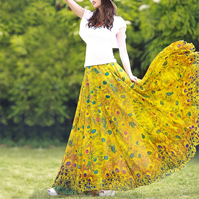 YUBKAVPOL / Летняя шифоновая юбка макси с богемным принтом