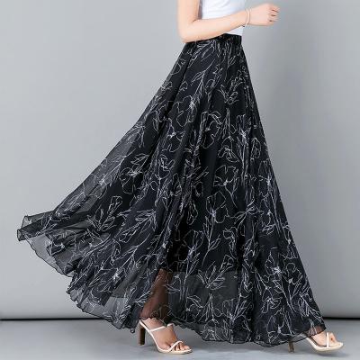 YUBKAVPOL / Шифоновая черно белая длинная юбка в пол