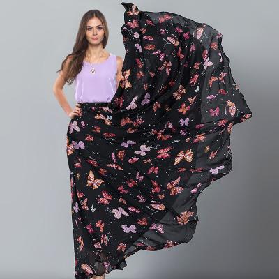 YUBKAVPOL / Длинная шифоновая юбка в пол принт бабочки