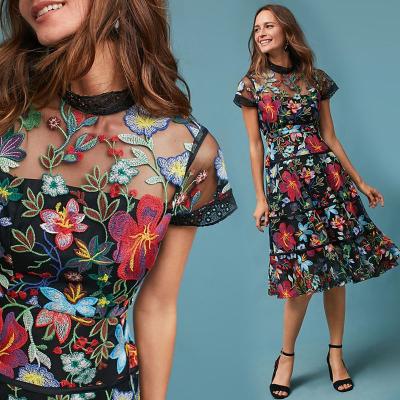 She's / Дизайнерское платье миди с вышивкой по фатину