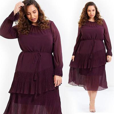 KMwomen's / Шифоновое платье миди с плиссированными воланами