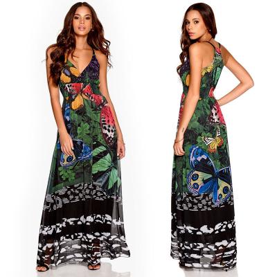 DESIGUAL / Шифоновое платье в пол с дизайнерским принтом