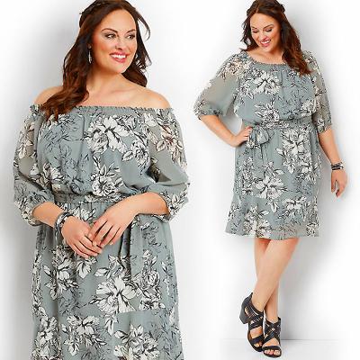 MAURICES / Платье миди из шифона с цветочным принтом