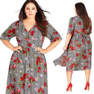 CITY CHIC / Платье миди из вискозы большого размера