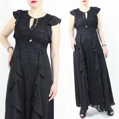 ICONIC / Шифоновое длинное платье с воланами и кружевом