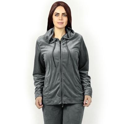 HUE / Велюровый женский костюм для спорта и отдыха серый графит