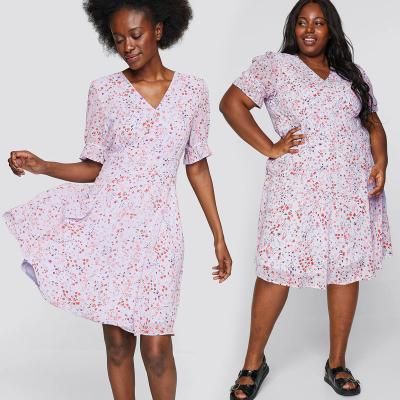 CUBUS / Шифоновое платье миди с цветочным принтом на лиловом фоне