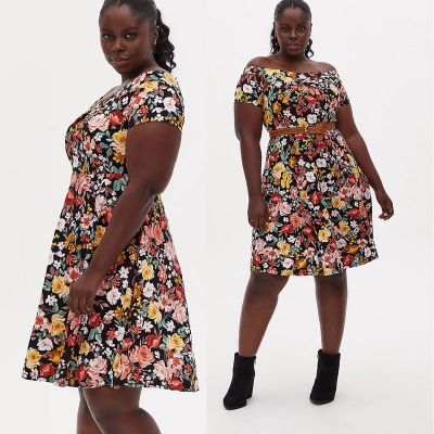 TORRID / Элегантное платье миди с открытыми плечами