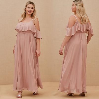 TORRID / Длинное вечернее платье с открытыми плечами цвета лотоса