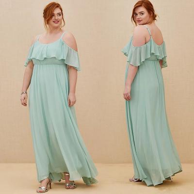 TORRID / Длинное вечернее платье из шифона с открытыми плечами мятное