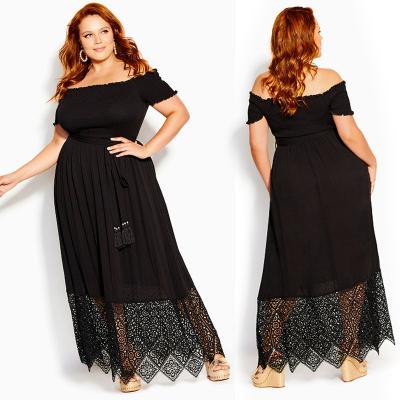 CITY CHIC / Длинное черное платье с открытыми плечами