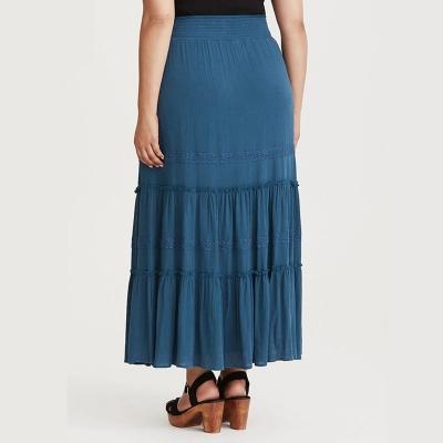 TORRID / Ярусная юбка макси из вискозы с кружевом
