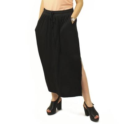 EDITION/ Длинная юбка с карманами из вискозы черная