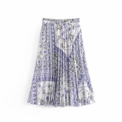 Плиссированная юбка миди с фарфоровым принтом