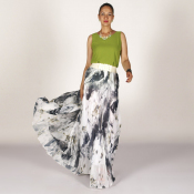 YUBKAVPOL / Шифоновая белая длинная юбка с абстрактным принтом