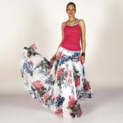 YUBKAVPOL / Белая длинная юбка с цветочным принтом