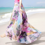 YUBKAVPOL / Шифоновая юбка в пол с принтом в стиле бохо