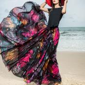 YUBKAVPOL / Длинная летняя юбка из шифона с богемным принтом
