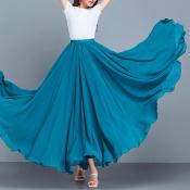 YUBKAVPOL / Длинная шифоновая юбка в пол лазурного цвета