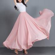 YUBKAVPOL / Длинная шифоновая юбка в пол кораллового цвета