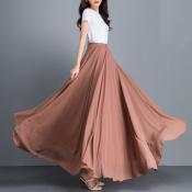YUBKAVPOL / Длинная шифоновая юбка в пол карамельного цвета
