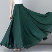 YUBKAVPOL / Изумрудная длинная шифоновая юбка в пол