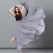 YUBKAVPOL / Серая длинная шифоновая юбка в пол