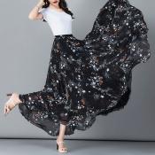 YUBKAVPOL / Черная юбка макси с космическим принтом