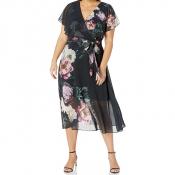 CITY CHIC / Шифоновое платье макси с запахом с дизайнерской печатью